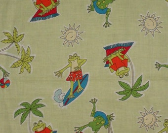 One yard of cotton fabric green with surfing frogs