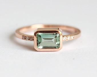 Tourmaline Engagement Ring, Engagement Tourmaline Ring, Emerald Cut Ring Tourmaline Diamond Ring, Simple Engagement Ring