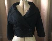 1950s Black Bolero Jacket Oversized Big Collar Secretary Deep V Military Double Breasted Shawl Cropped Blazer Sweater Dress Jacket Coat S M