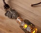 Warm Autumn Necklace - Bottle necklace, glass vial necklace, potion necklace, elven necklace, fantasy necklace, glass bottle, tiny bottle
