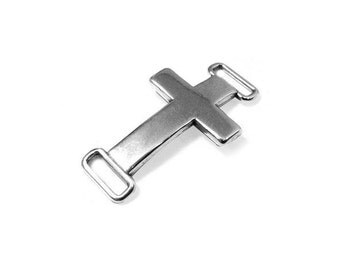 10 Cross Connector - Antique Silver - Sterling Silver Plated - ZAMAK Metal Finding