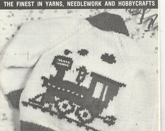 Knitting Pattern - Mary Maxim Charted Graph Style Vintage Pattern - CHOO CHOO TRAIN - Kiddies Cardigan Sweater Child Size 4 & 6 - Locomotive