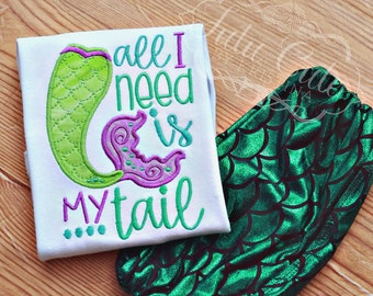 All I need is my tail shirt/bodysuit- Mermaid shirt, Mermaid tail shirt, Girls mermaid shirt, Summer shirt, Baby mermaid bodysuit