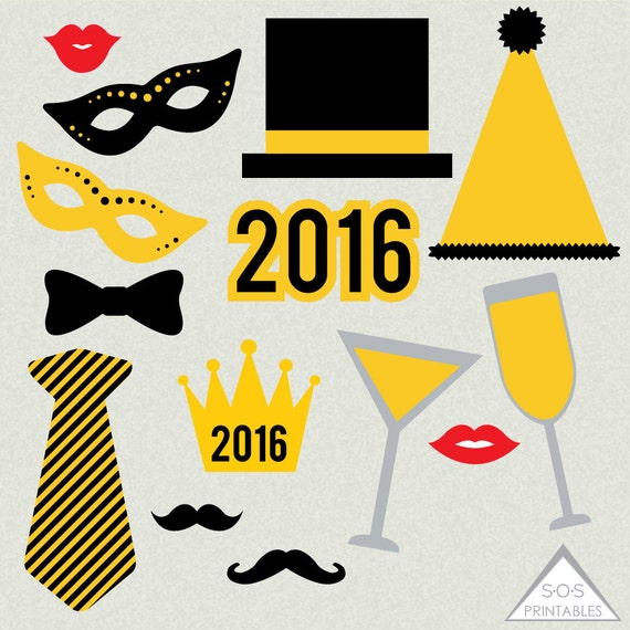 ... , New Years Photo booth props, Printable Props, Instant Download