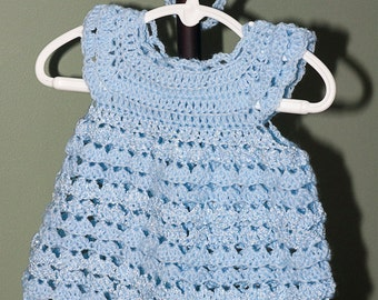 Crocheted Pinafore Dress and Headband
