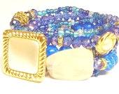 Blue, White, Gold , Beaded Bracelet Set, Bracelet Stack, Stretchy, Boho, Womens Gifts, Custom, Handmade Beaded Jewelry