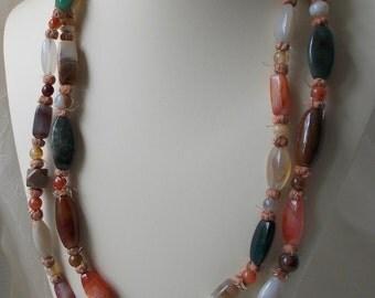 Huge 52 Inch Vintage Beggar Bead Agate Necklace   1111