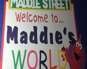 "XL - 14"" -  Sesame Street Custom Birthday Sign or Centerpiece with Elmo"