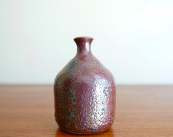 French signed stoneware bottle, 1950s / burgundy ceramics