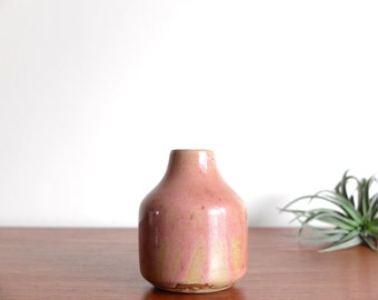 French vintage signed ceramic - pink pottery 1970s 70s