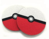 Pokemon ball cup holder coasters -absorbent Pokemom car coasters - Makes a great gift - Contains an Antibacterial Agent - Auto coasters