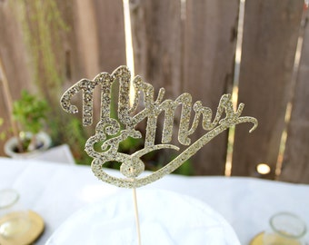 Wedding/Engagement/Bridal Cake Topper - Glitter Cardstock - Bohemian - Woodland - Fairytale - Mr and Mrs  - Best Day Ever