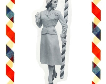 Vintage Sewing Pattern in any size including plus size 1949 PDF Instant Download Pattern no 13