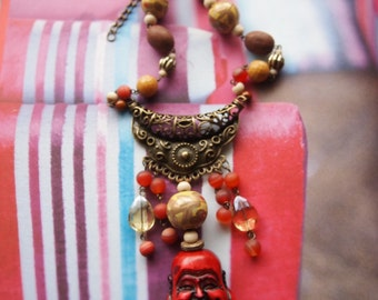 Necklace made of gems in warm colors