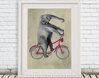 Elephant Decor Print, Elephant on bicycle, Gift for Birthday, Blue, Elephant Wall Art, Nursery Artwork, Elephant Decor