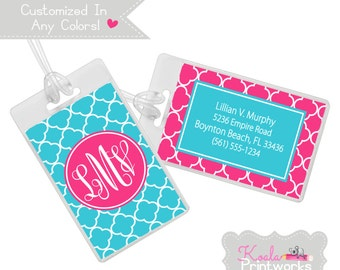 Personalized Luggage Tag - Bag Tag - You Choose the Colors & Personalization Style - Lattice Pattern - School Colors - Bridesmaid Gift