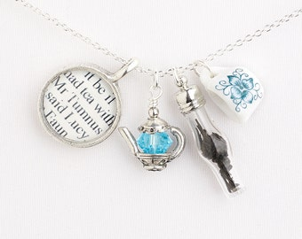 Narnia Jewelry - Tea with Mr. Tumnus Narnia Necklace - The Lion, The Witch and the Wardrobe - Book and Tea Jewelry - Gifts for Book Lovers