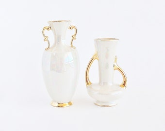 HOLLEY ROSS Opalescent Cream and 22K Gold Trim Vase Set