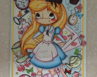 Lovely Large 3D Anime Themed *Alice in Wonderland* Handmade Birthday Card by Christine with matching envelope and gift tag