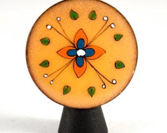 Pop Art Enamel Brooch - Louise Chaudron - Orange Flower - Mid Century Modern - Stylized - Modernist  - Canada 1970's