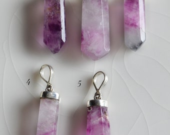 Purple Flourite Pendants, Sterling Silver Cap and Bail, 1016