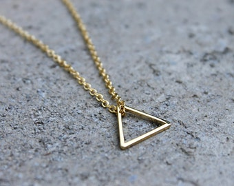 Little Gold Triangle Necklace // 16K Gold // Minimal Necklace // Layering Necklace // Tribal Necklace // Geometric Necklace