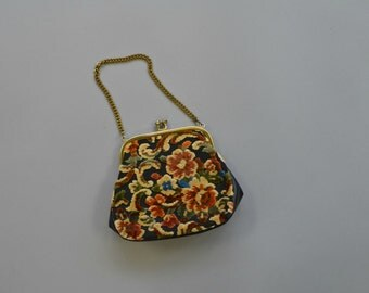 1970s small floral velvet tapestry purse