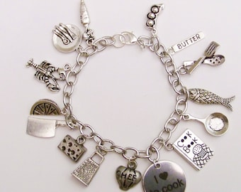 Love to Cook Themed Charm Bracelet, Love to Cook,For the Chef, Chef's Jewelry, Food Bracelet, Gifts for Cooks,  Top Chef inspired