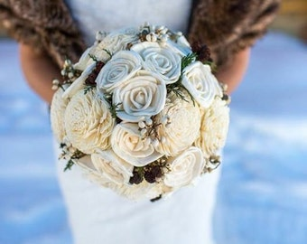 Bridal Bouquet - winter bridal bouquet - rustic bridal bouquet - woodland bridal bouquet - ivory bridal bouquet - pinecone bridal bouquet