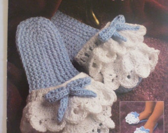 Classic Crochet Slippers by Annie's Attic, eyelet lace slippers, Irish booties slippers, ballerina slippers, stylish sling slippers - 1466