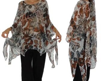 HO300ZT3 tunic blouse chiffon Gr. 44 46 48 50 52 54 grey / rust
