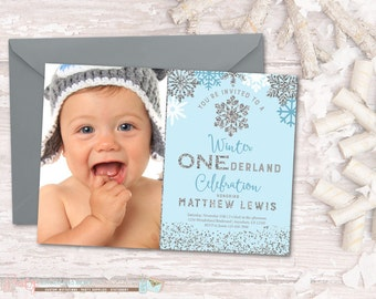 Winter Birthday Invitation, Winter ONEderland Birthday Invitation, Snowflake Birthday Invitation, Winter Onderland, Blue and Silver
