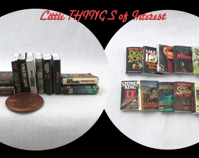 10 STEPHEN KING Miniature Books 1:12 Scale Prop Books Set of 10 Books Faux Books Dead Zone Salem's Carrie Misery IT Pet Sematary Cemetery