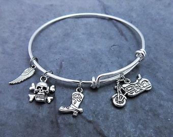 Motorcycle Gifts -  Biker Jewelry - Motorcycle Charm Bracelet  -  Expandable Bangle  - Harley Bracelet - Biker Chick - Skull and Crossbones