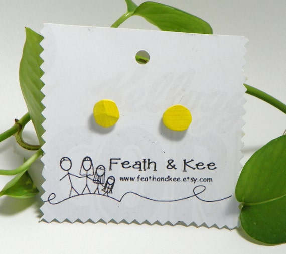 Yellow Circle Earrings from Feath and Kee