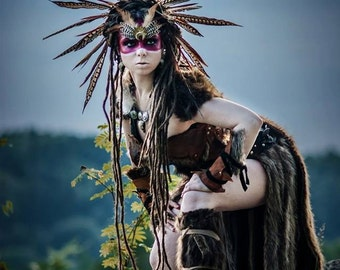 Feather Costume Headdress, Burning Man, Shaman, Warrior, Barbarian, Savage, Headdress, Primal, Tribal, Pheasent, Headband, Head Piece