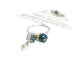 Freshwater Peacock Pearl Gold Bali Charm Rutilated Quartz Labradorite Charm Sterling Silver Layering Necklace