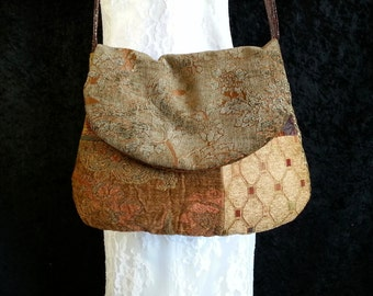 Tapestry Bag - Gypsy Upholstery Bag - Shoulder Bag -  Bohemian Gypsy Purse - Tapestry Velvet and Chenille Upholstery Purse