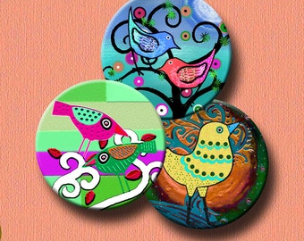 WHIMSICAL BIRDS -  2.5 inch Digital Collage Sheet for Pocket Mirrors, Magnets, Paper Weights -  Instant Download #212.