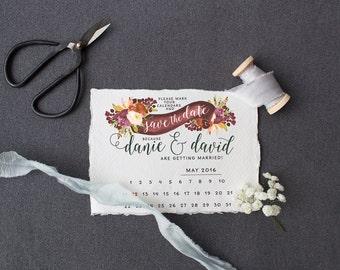 Save the Date DEPOSIT - Printable, Custom, DIY, Modern, Watercolor, Calendar, Boho, Floral, Flowers, Calligraphy, Rustic, Chic, Romantic