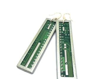 Earring -reka bele- printed circuit board, PCB earrings, motherboard