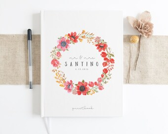 Custom Wedding Journal. Wedding Guest Book. Custom Wedding Guestbook. Bridal Shower Notebook. Spring Summer Wedding Gift.