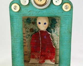 Shadowbox, paper clay, mixed media, serendipity, clay people, people