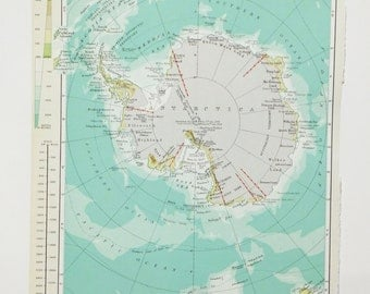 Vintage Antarctic map - Large Map of The Antarctic - map for explorers