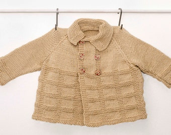 Knitted Double Breasted Taupe Matinee Coat, Baby Sweater, Baby Coat, Baby Cardigan, Child Matinee sweater, Hand Knit, Child Knits
