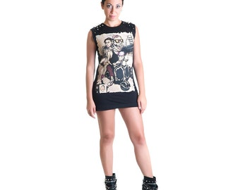 Still Alive jersey cotton black tunic dress zombie studs spikes punk rock pizza - Limited Edition Handmade in Italy