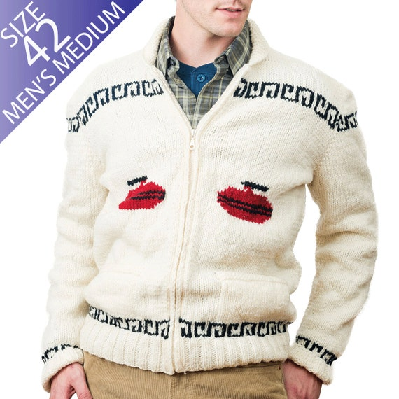 Knitting Patterns For Curling Sweaters : Curling Sweater New Hand Knit Wool Cardigan by ...
