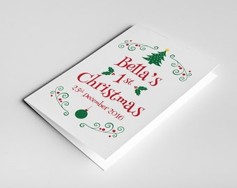 Baby's First Christmas Card, Baby 1st Christmas Card, Baby First Christmas, Babys First Xmas Card, Baby Christmas Gift, Personalised Baby