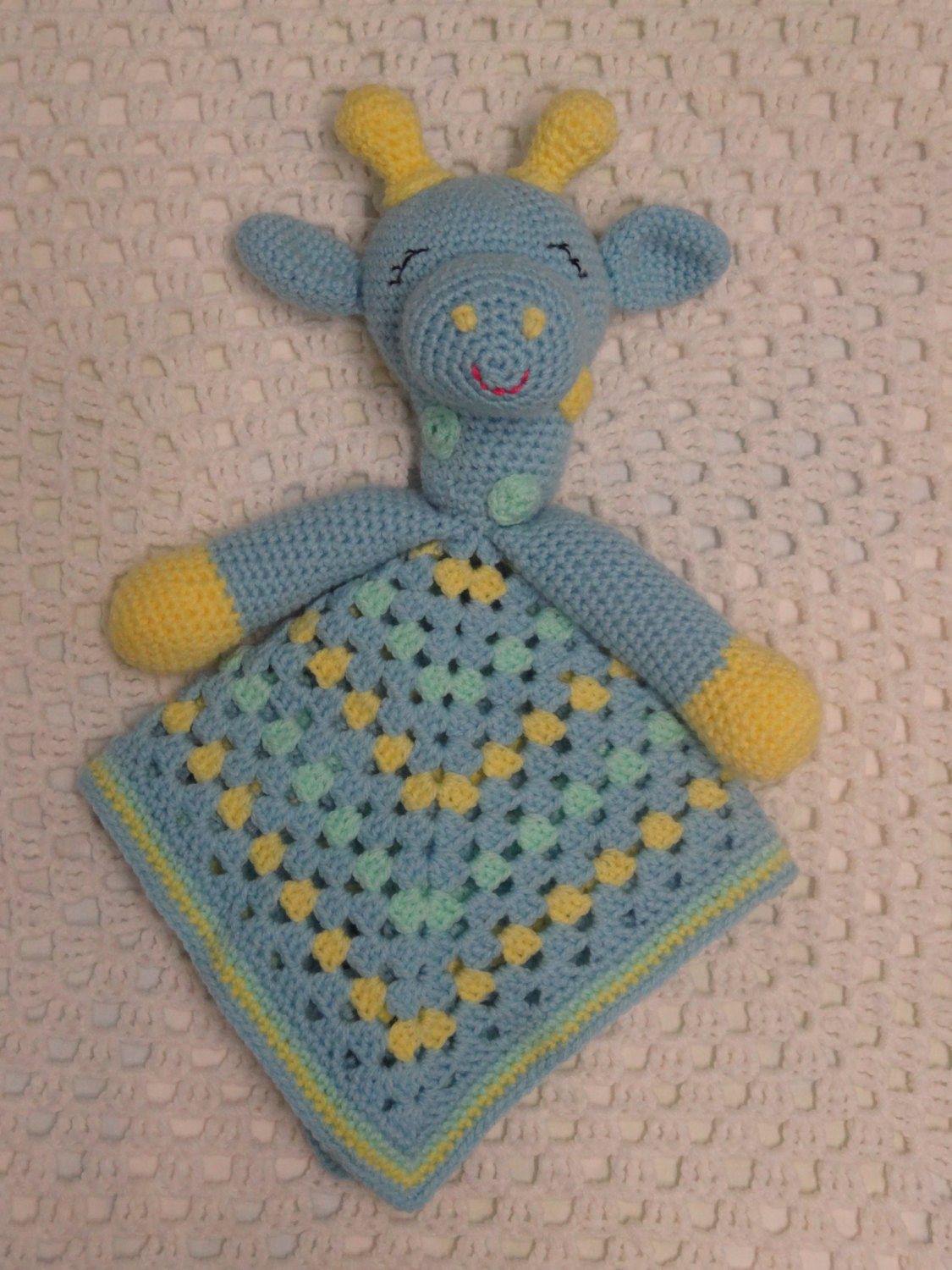 Crochet Pattern Giraffe Blanket : Security Blanket Crochet Lovey Giraffe Lovey Baby Boy Gift