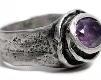 Antique Ring Amethyst Art Deco Silver Jewelry